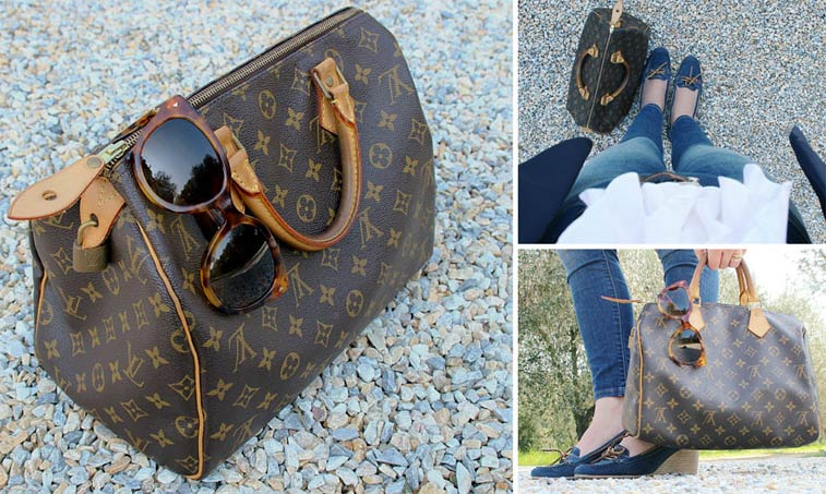 Preppy casual chic outfit details.
