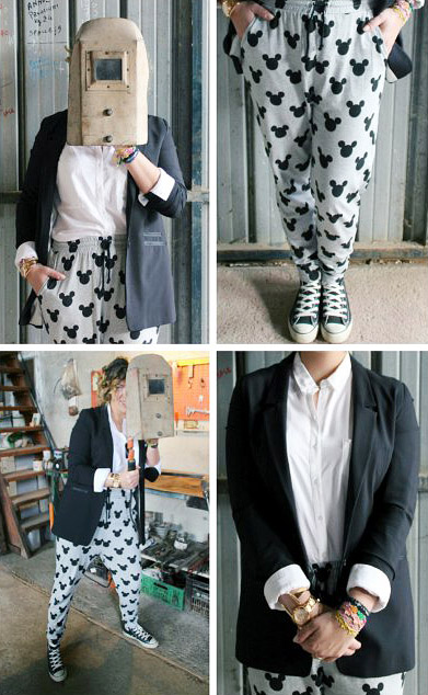 Outfit sporty chic blazer joggers pants.