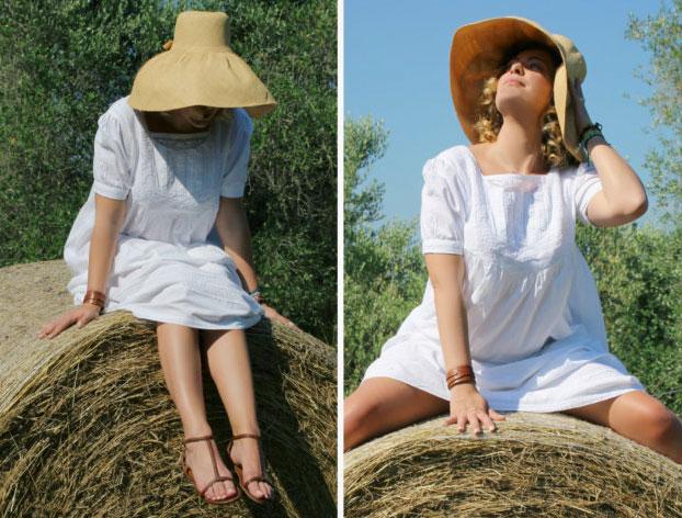 Outfit bucolico su balla di fieno - Bucolic look on hay bale.