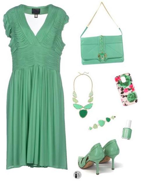 Colori di tendenza primavera estate 2015: Lucite Green outfit.