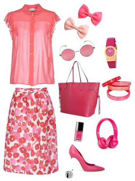 Strawberry seasonal colors outfit.
