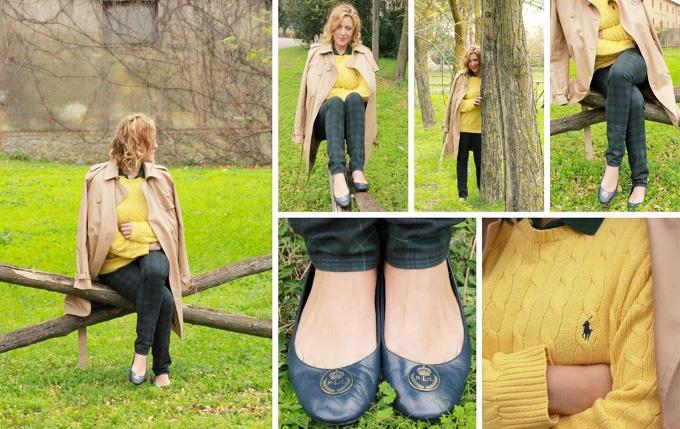 Outfit autunno: trench, tartan e giallo per uno stile preppy americano perfetto.