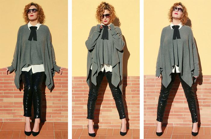 Idea outfit su come indossare pantaloni paillettes e maglione poncho.