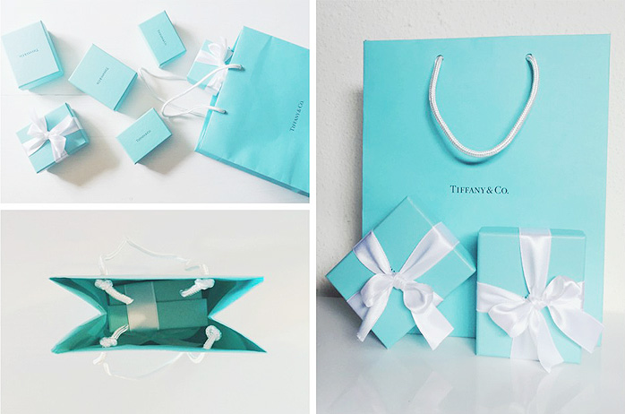 Tiffany & Co original jewelry packaging.