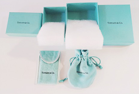 Interior of the original Tiffany & Co. jewelry packaging.