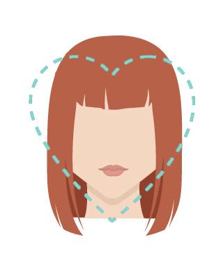 Heart shape face.