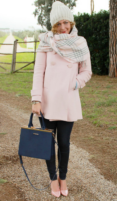 Fall winter casual chic pink outfit.