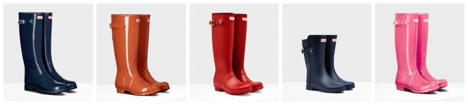 Modelli di scarpe stivali da pioggia.