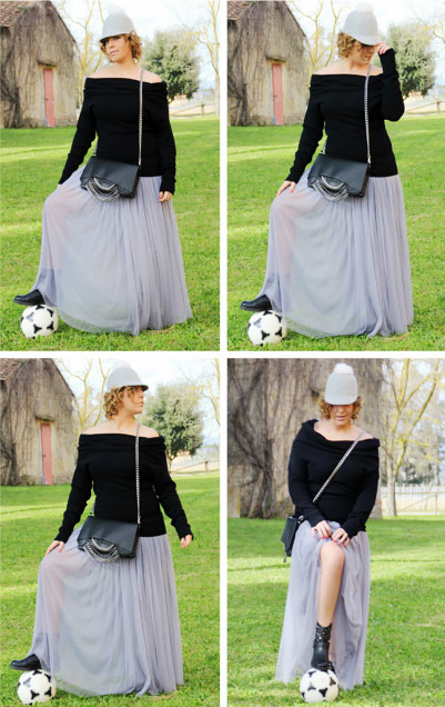 How to wear long tulle skirt.