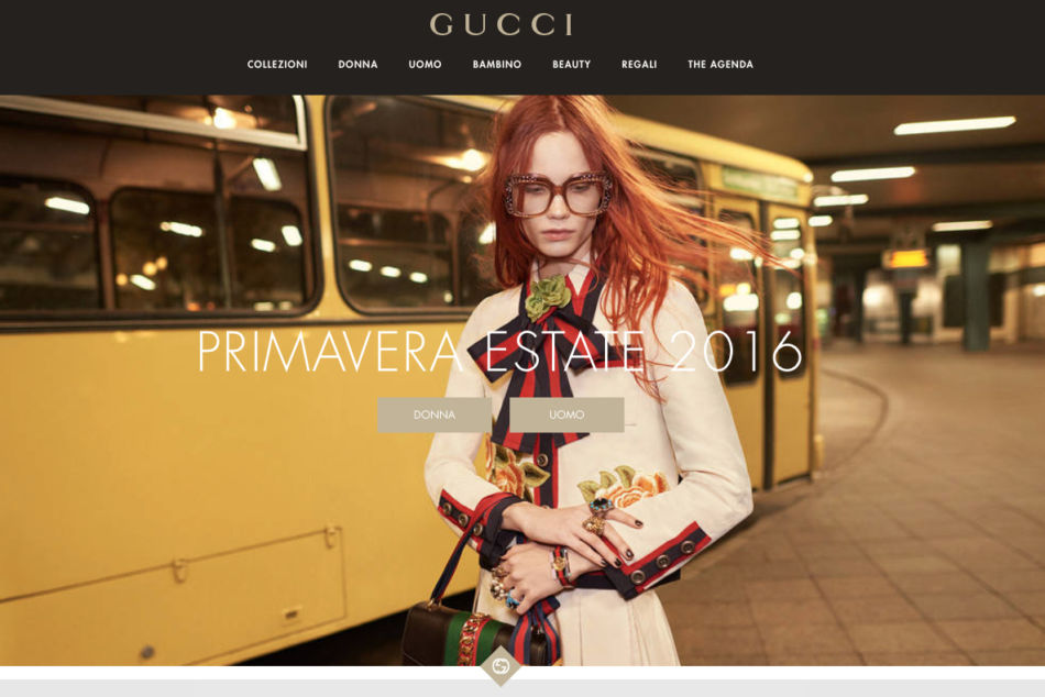 Gucci home page.