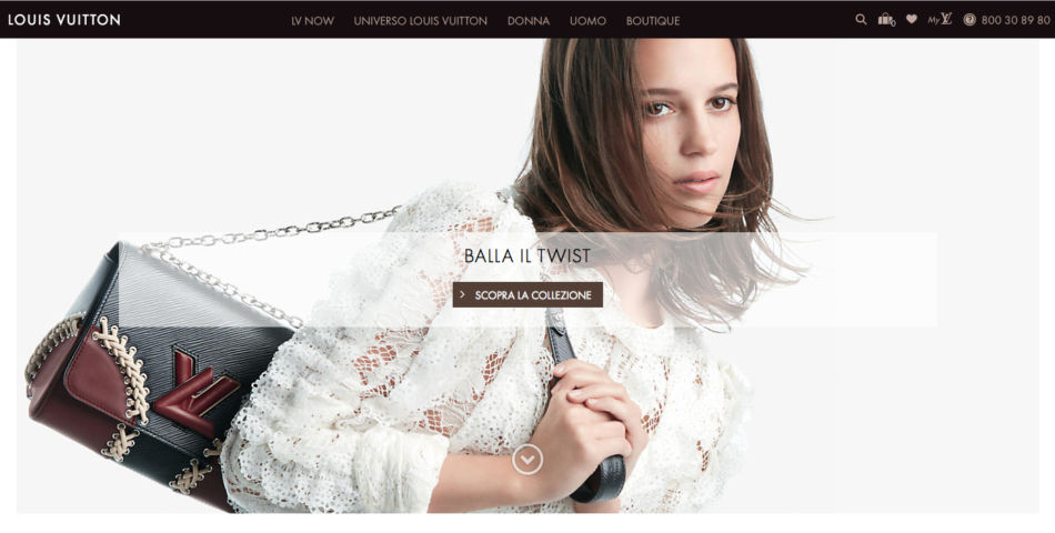 Louis Vuitton luxury brand home page.