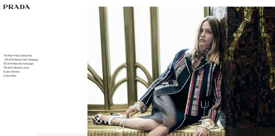 Prada home page luxury brand.