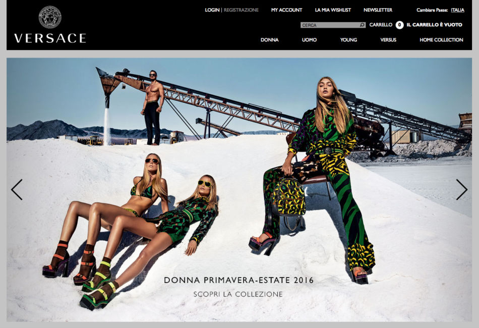 Versace home page.
