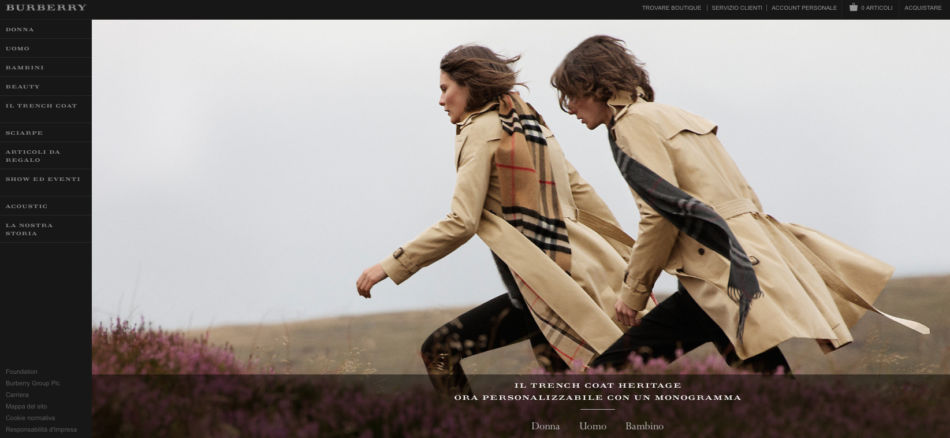 Burberry home page.