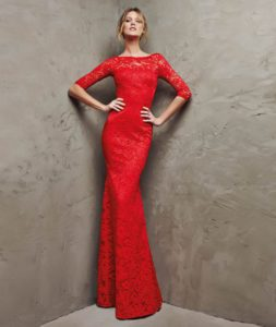 Red evening dress.