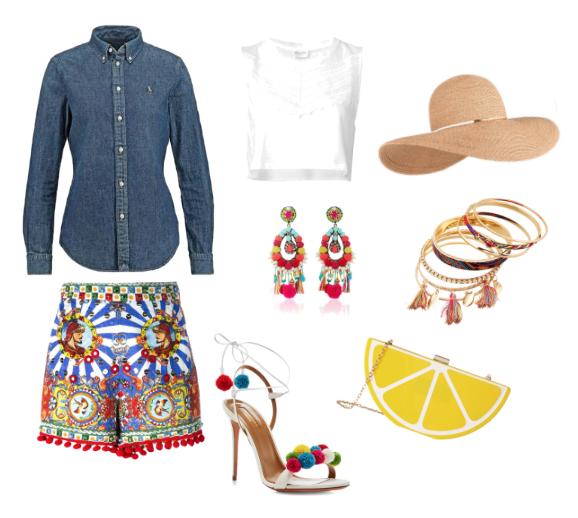 Outfit da vacanza con camicia di jeans.