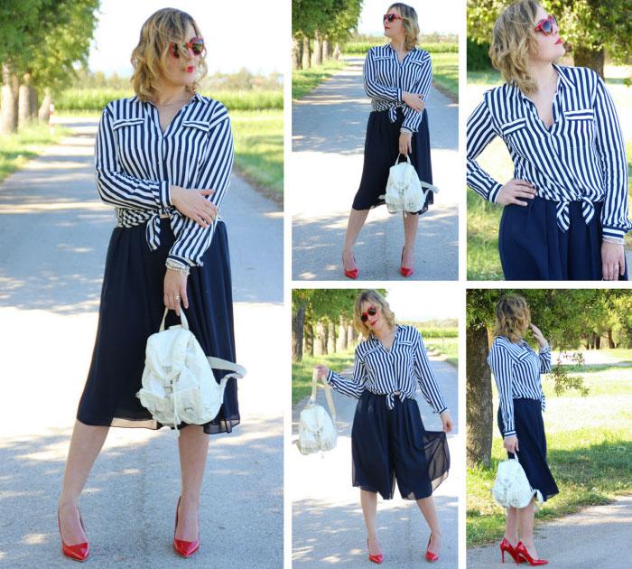 Outfit culotte pants.