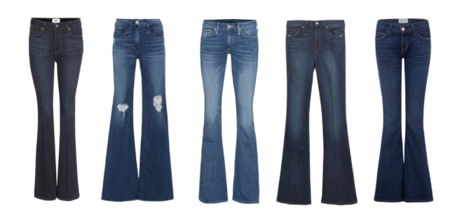 Bell Bottom denim pants.