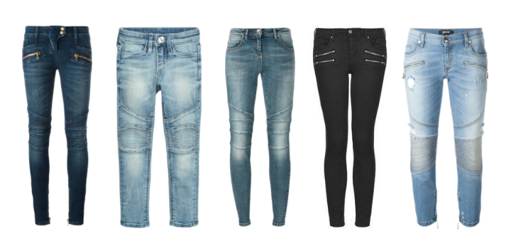 Biker denim pants.