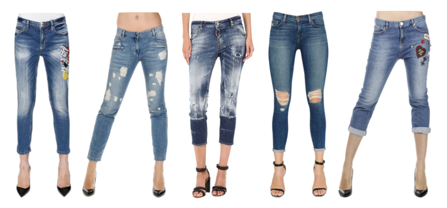 Pantaloni Capri in denim e ankle jeans.
