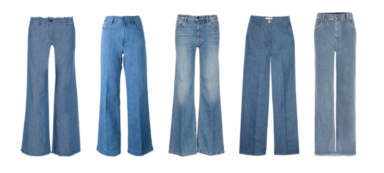 Wide Legg denim pants.
