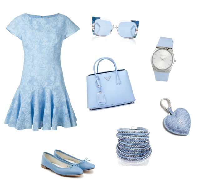 Airy Blue color outfit.