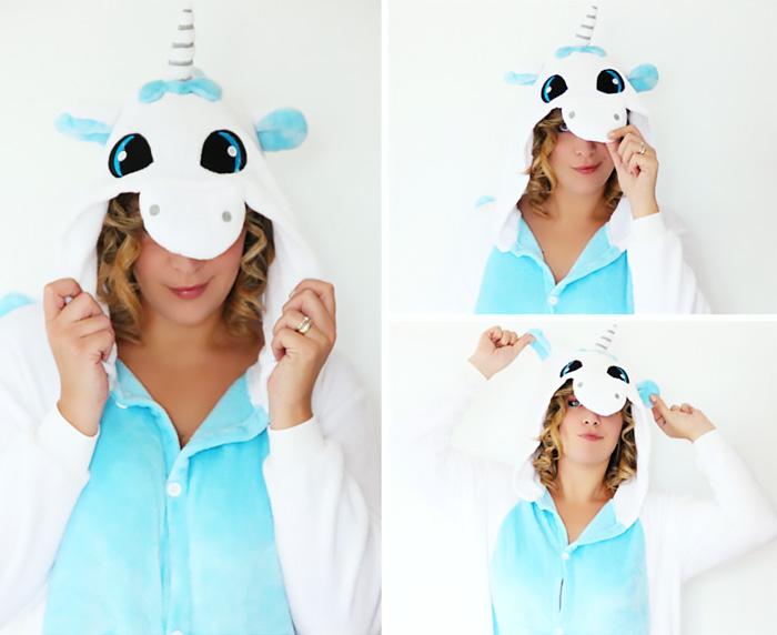 Unicorn fleece suit pajamas.