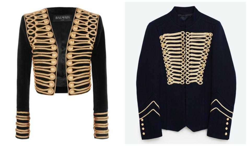 Anche i brand amano copiare. Giacca alamari Balmain vs Zara - Even the brands they love to copy. Frogged jacket Balmain vs Zara.
