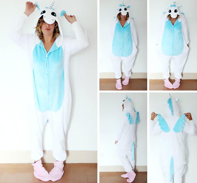 Home outfit idea: unicorn fleece suit pajamas.