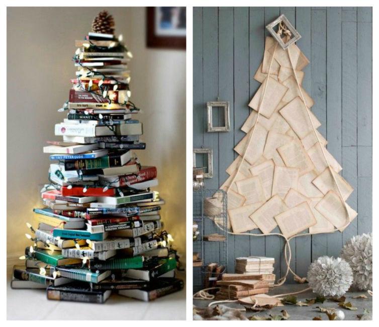 Idee albero di natale fai da te con libri - Christmas tree book DIY.