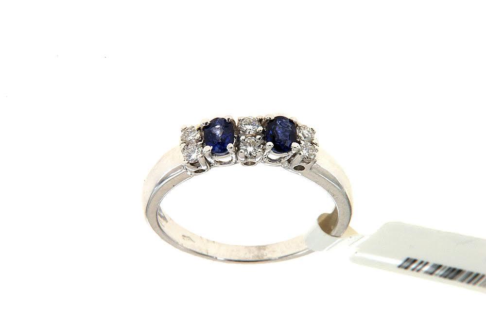 Anello con zaffiri Floris Diamanti - Ring with two sapphires and three brilliant files by Floris Diamanti.