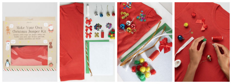Idea regalo di natale, kit per decorare un maglione - Christmas Gift Ideas, kits to decorate a sweater.