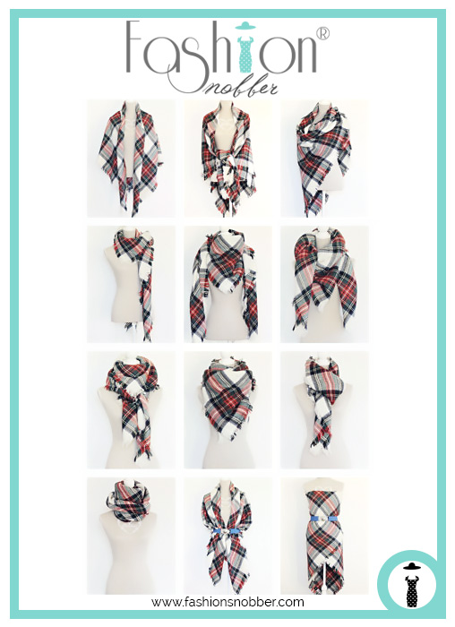 12 ways on how to wear a plaid blanket scarf.