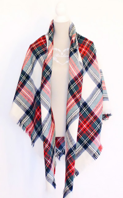 How to wear plaid blanket scarf.