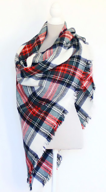 How to wear a waterfall style plaid blanket scarf.