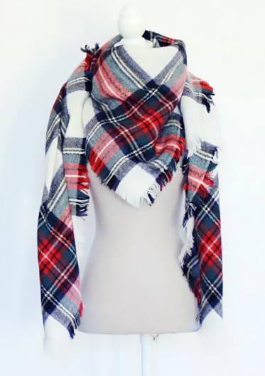 Modern knot maxi tartan scarf.