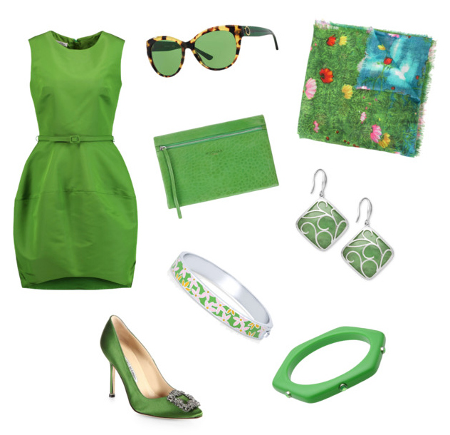 Greenery color outfit.