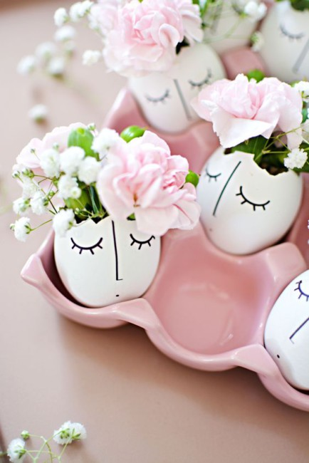 Uova di Pasqua floreali fai da te.