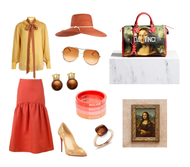 Louis Vuitton and Jeff Koons Da Vinci bag outfit inspiration Masters collection.