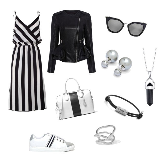 Slip on Trussardi Jeans idea outfit black & white.