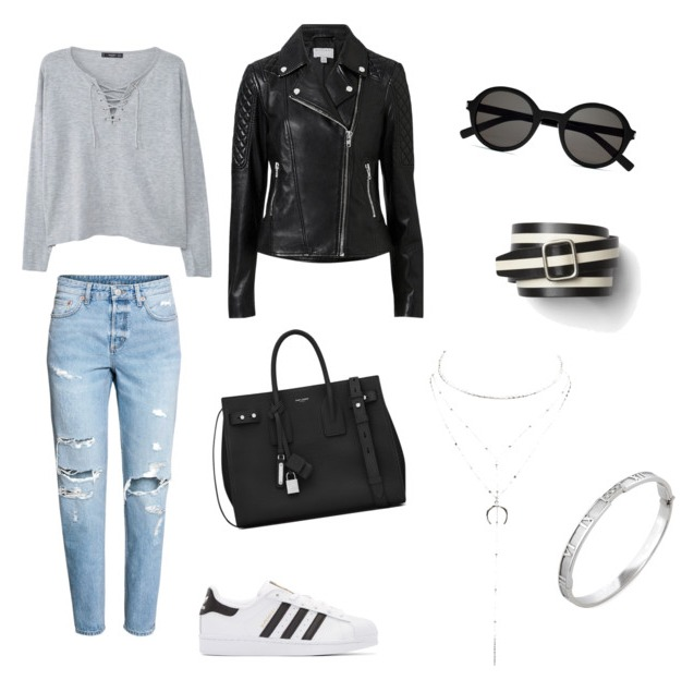 Boyfriend jeans outfit street style.