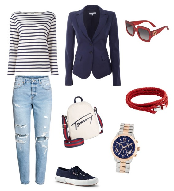 Boyfriend jeans outfit navy style.