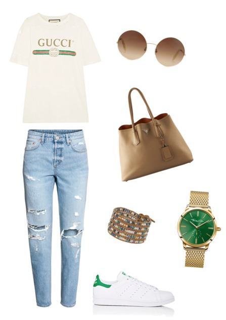 Boyfriend jeans outfit casual.