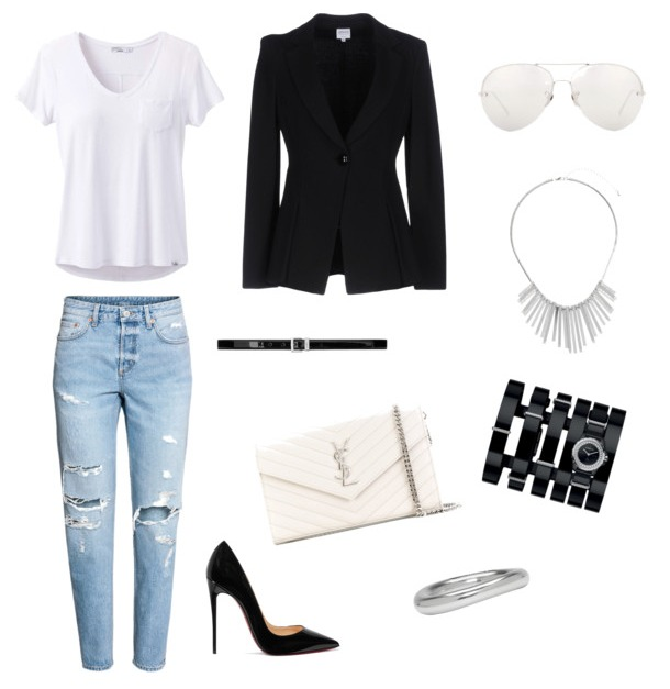 Boyfriend jeans outfit street style casual chic.