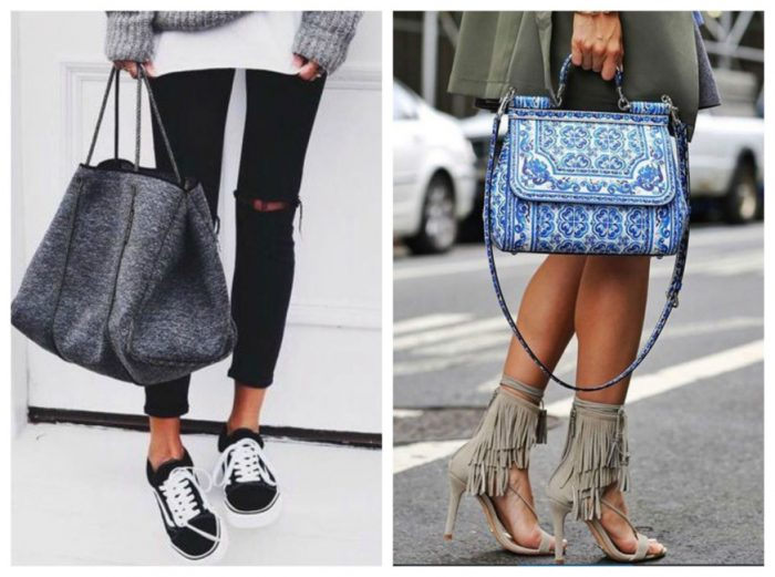 Indossare la borsa a mano.