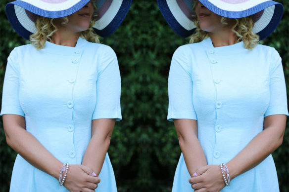 Outfit: in bon ton style with a light blue dress
