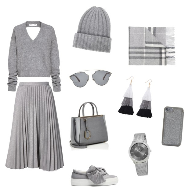 Neutral Gray outfit.