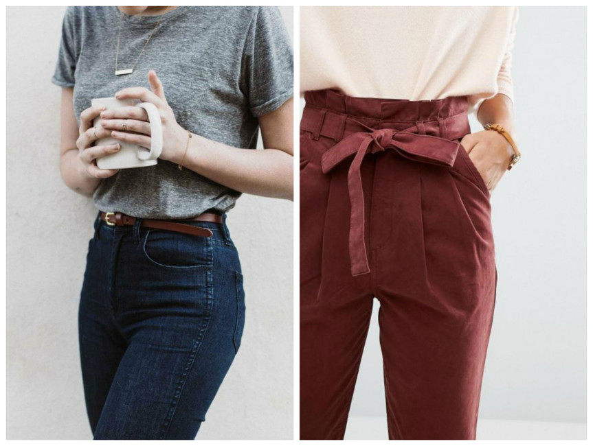 High-waisted trousers outfit.