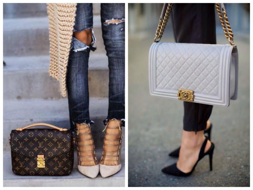 Scarpe e borsa di diverso colore outfit.