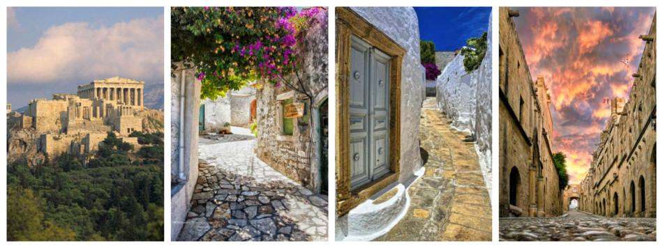 Vacanze in Grecia: Acropoli di Atene, città di Corfù, centro storico di Patmos e città medievale di Rodi.